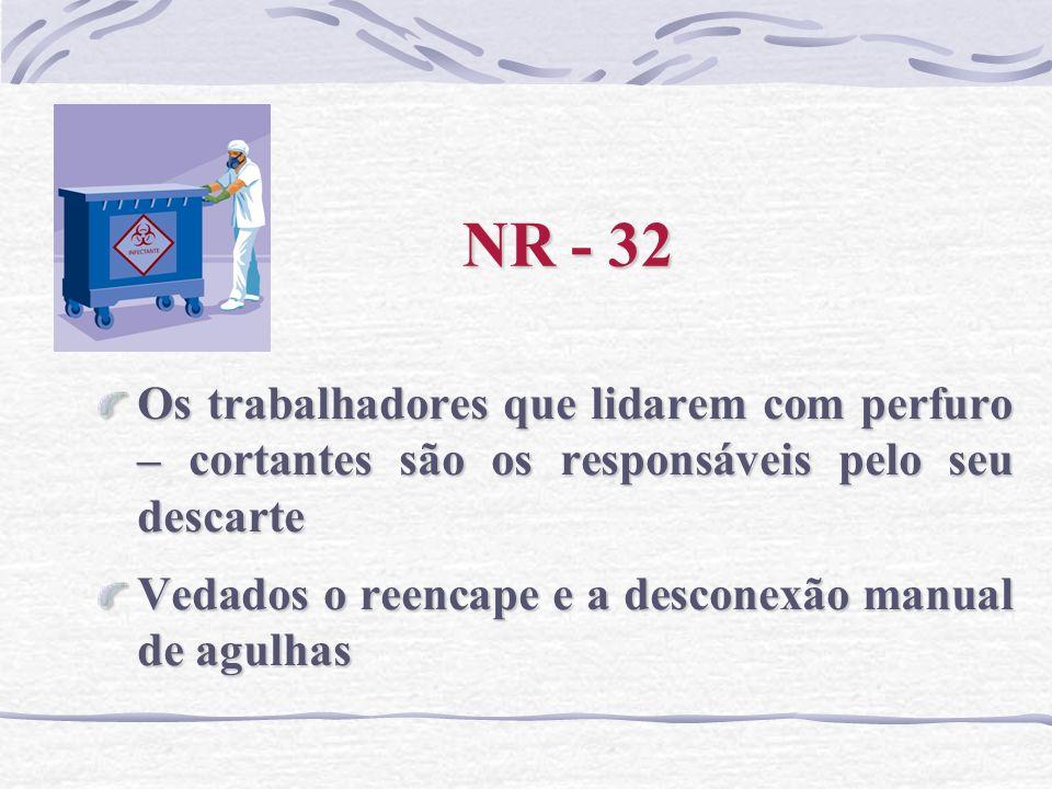 NR - 32 Os trabalhadores que lidarem com perfuro – cortantes são os responsáveis pelo seu descarte.