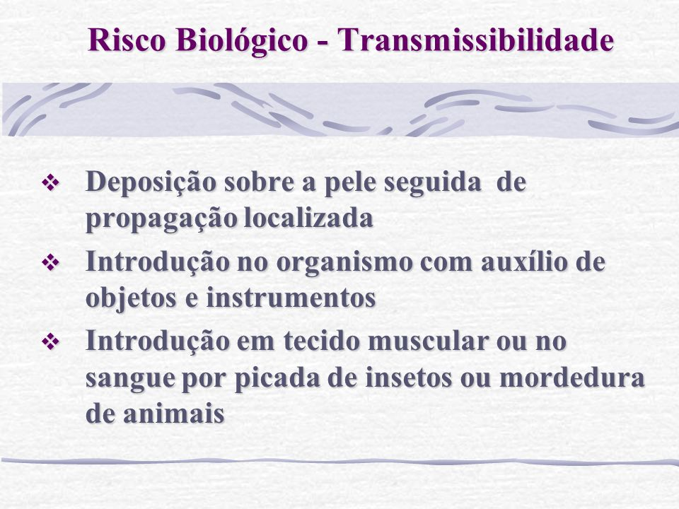 Risco Biológico - Transmissibilidade
