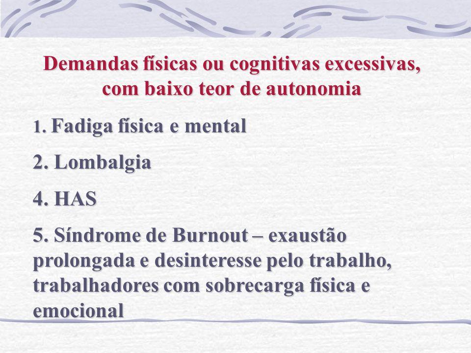 Demandas físicas ou cognitivas excessivas, com baixo teor de autonomia