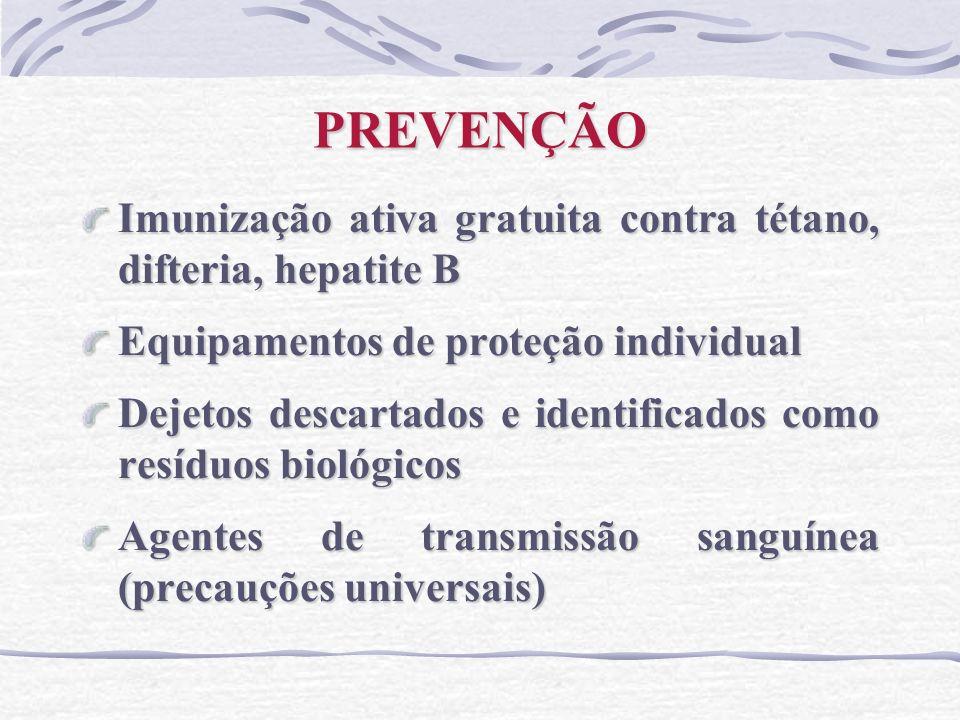 PREVENÇÃO Imunização ativa gratuita contra tétano, difteria, hepatite B. Equipamentos de proteção individual.