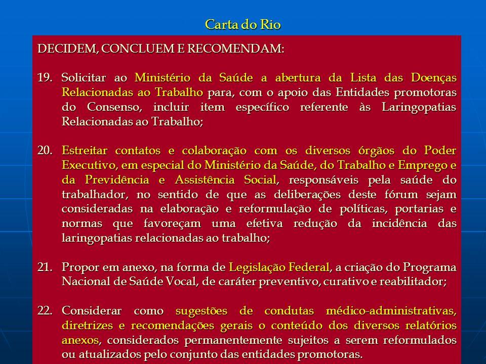 Carta do Rio DECIDEM, CONCLUEM E RECOMENDAM: