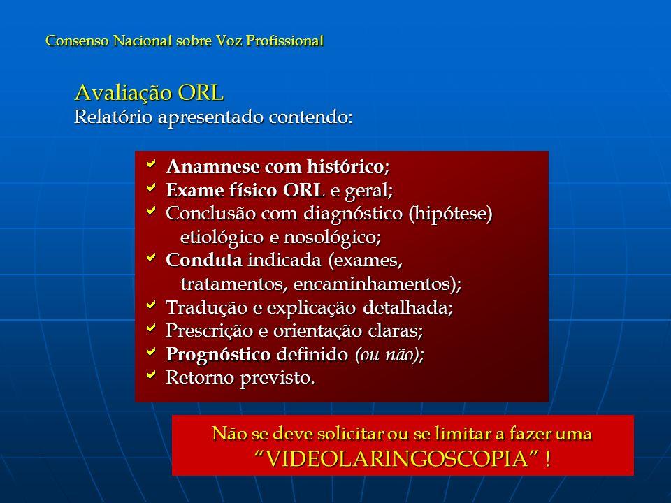 Avaliação ORL Relatório apresentado contendo: Anamnese com histórico;