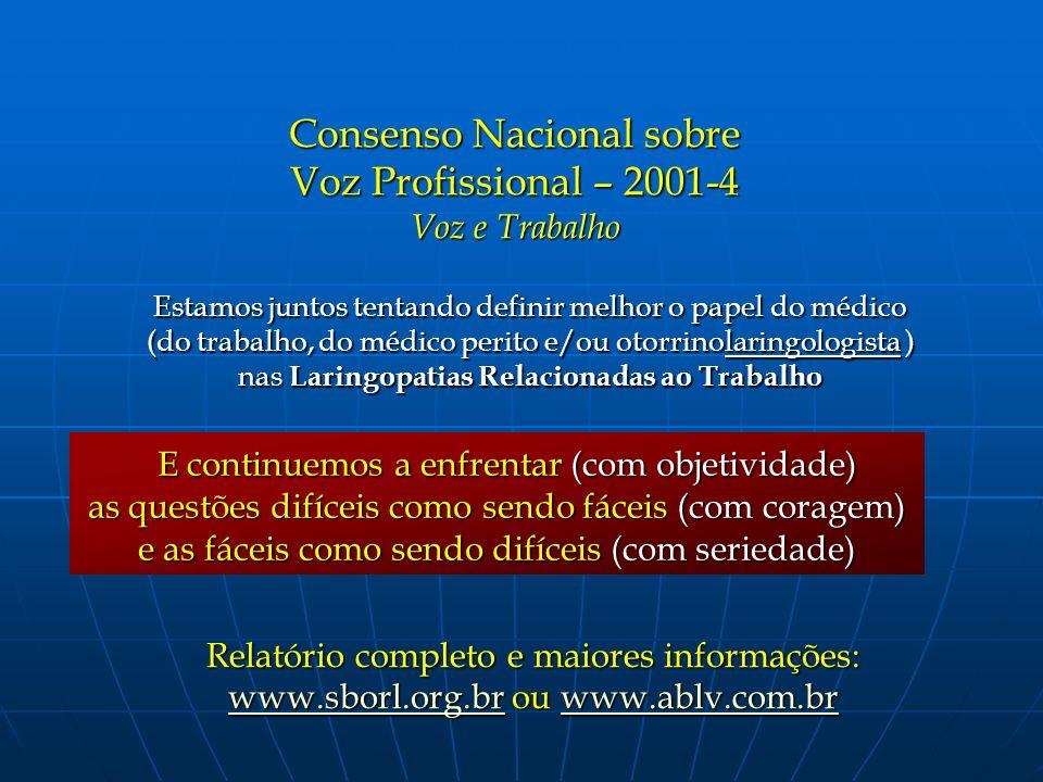 Consenso Nacional sobre Voz Profissional – 2001-4