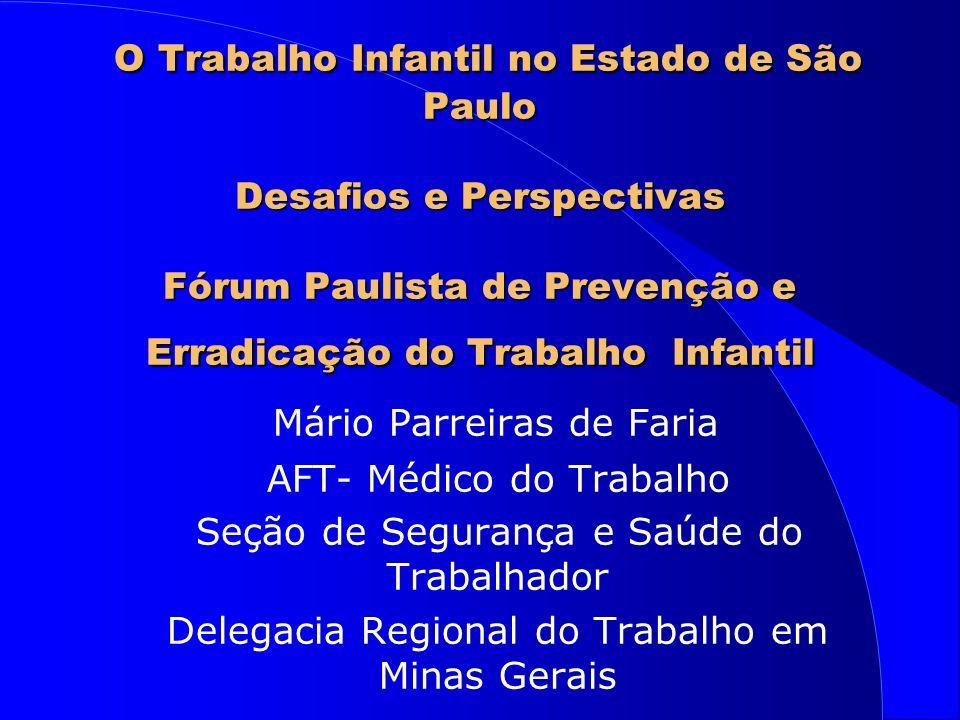 O Trabalho Infantil no Estado de São Paulo Desafios e Perspectivas Fórum Paulista de Prevenção e Erradicação do Trabalho Infantil