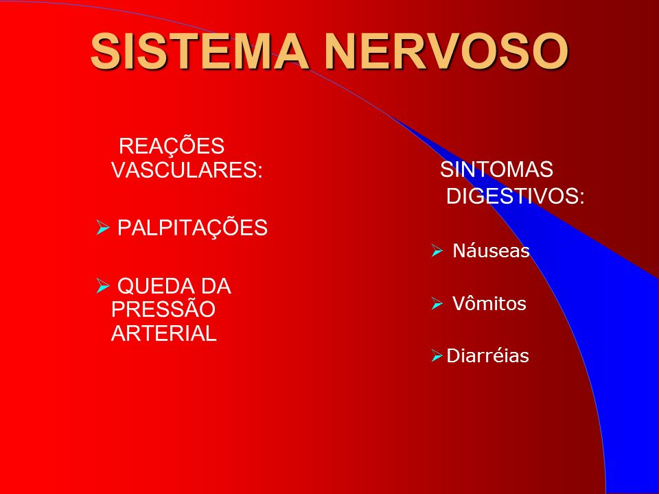SISTEMA NERVOSO REAÇÕES VASCULARES: PALPITAÇÕES