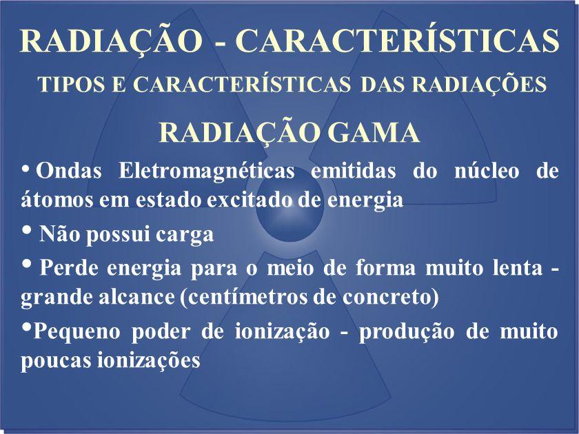 RADIAÇÃO - CARACTERÍSTICAS