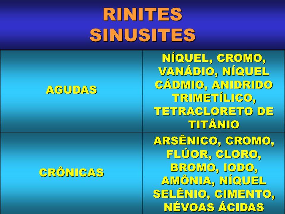 RINITES SINUSITESAGUDAS. NÍQUEL, CROMO, VANÁDIO, NÍQUEL CÁDMIO, ANIDRIDO TRIMETÍLICO, TETRACLORETO DE TITÂNIO.