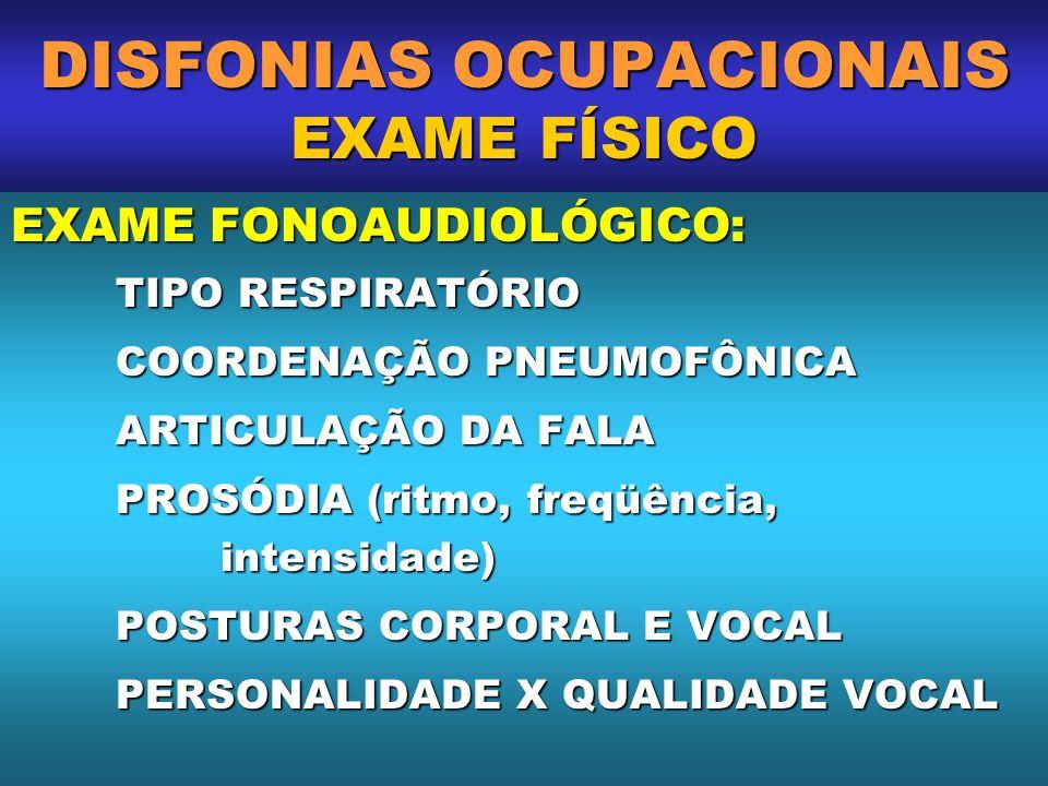 DISFONIAS OCUPACIONAIS EXAME FÍSICO