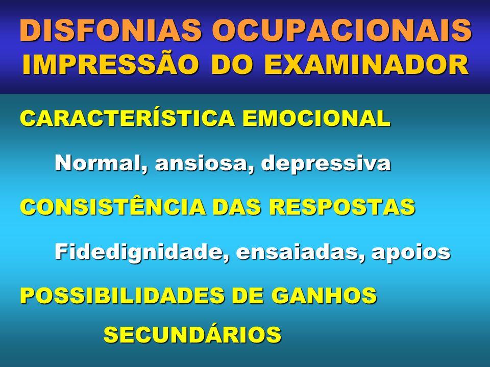 DISFONIAS OCUPACIONAIS IMPRESSÃO DO EXAMINADOR