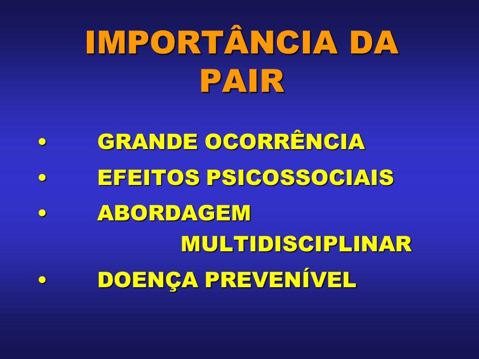 IMPORTÂNCIA DA PAIR GRANDE OCORRÊNCIA EFEITOS PSICOSSOCIAIS