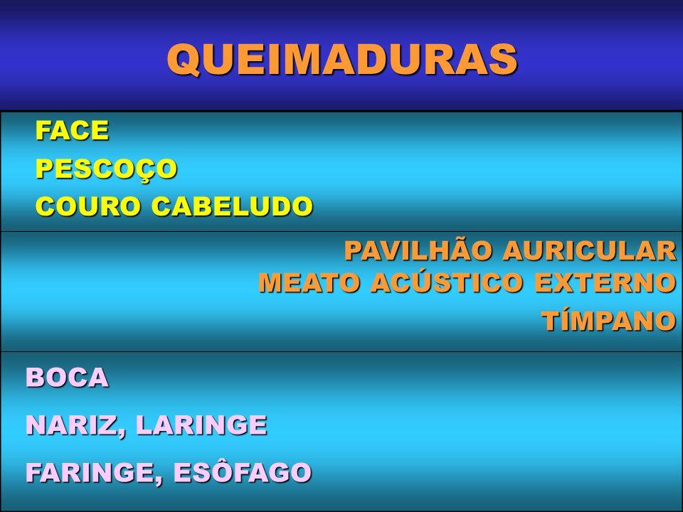 QUEIMADURAS FACE PESCOÇO COURO CABELUDO