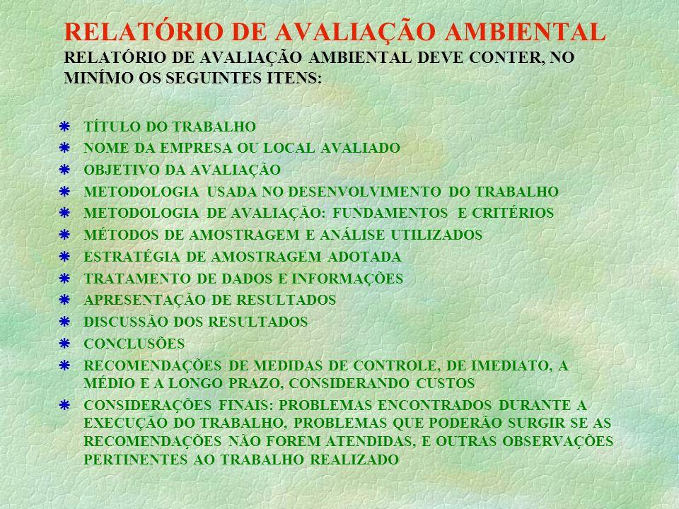 RELATÓRIO DE AVALIAÇÃO AMBIENTAL RELATÓRIO DE AVALIAÇÃO AMBIENTAL DEVE CONTER, NO MINÍMO OS SEGUINTES ITENS:
