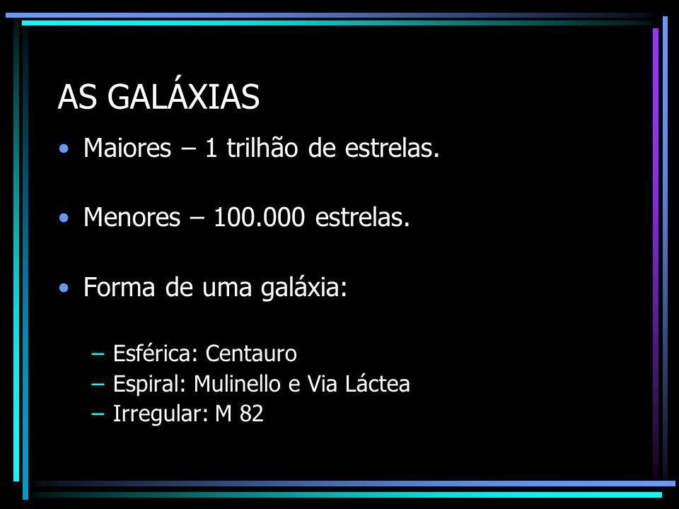 AS GALÁXIAS Maiores – 1 trilhão de estrelas.