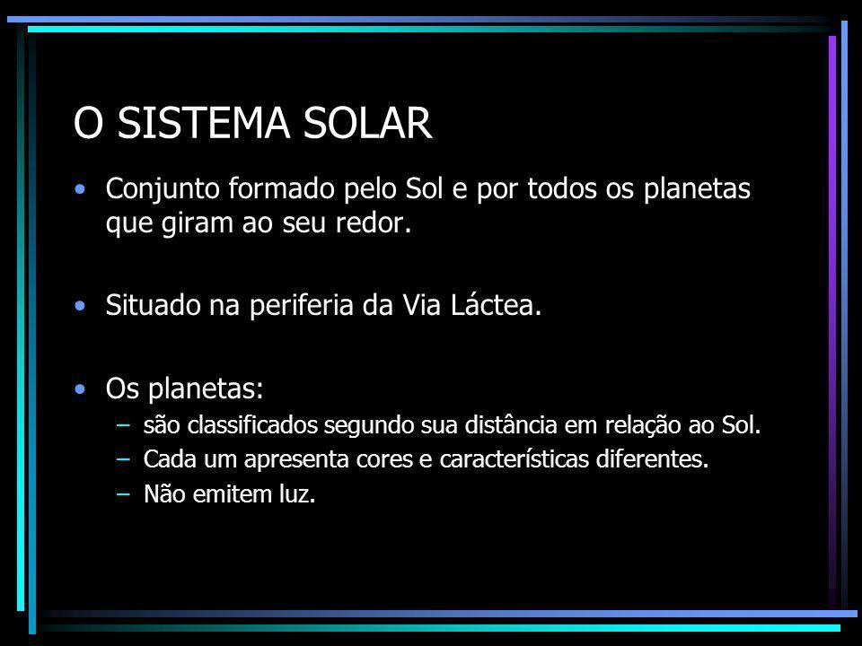 O SISTEMA SOLAR Conjunto formado pelo Sol e por todos os planetas que giram ao seu redor. Situado na periferia da Via Láctea.
