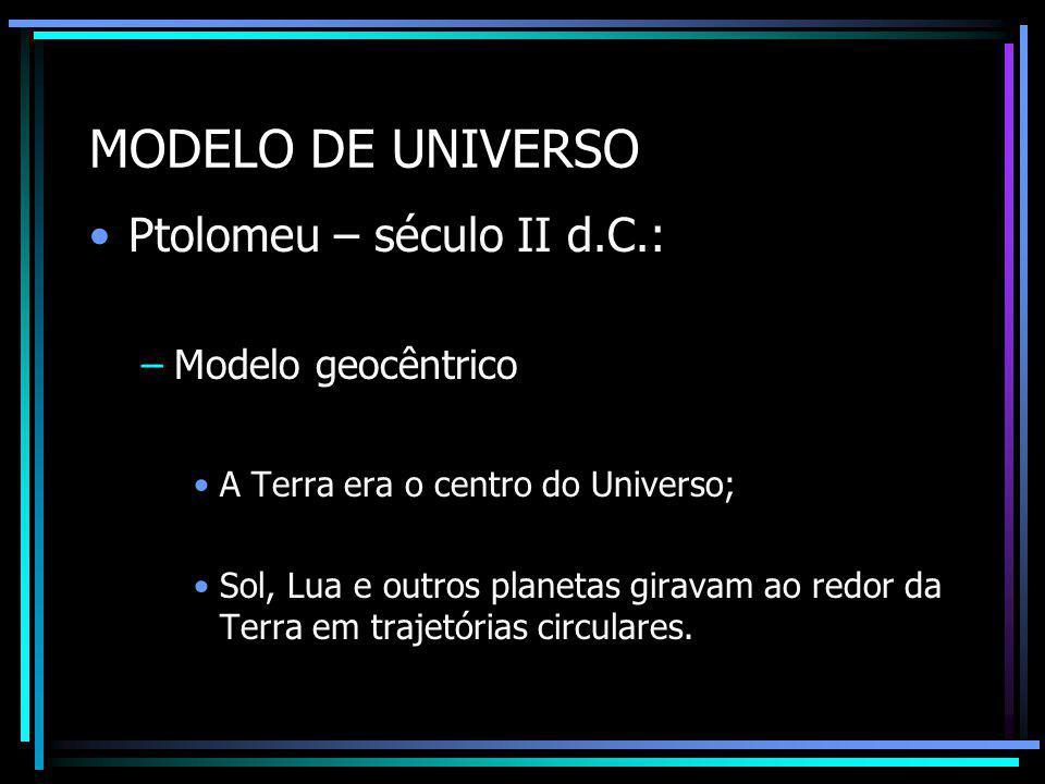 MODELO DE UNIVERSO Ptolomeu – século II d.C.: Modelo geocêntrico