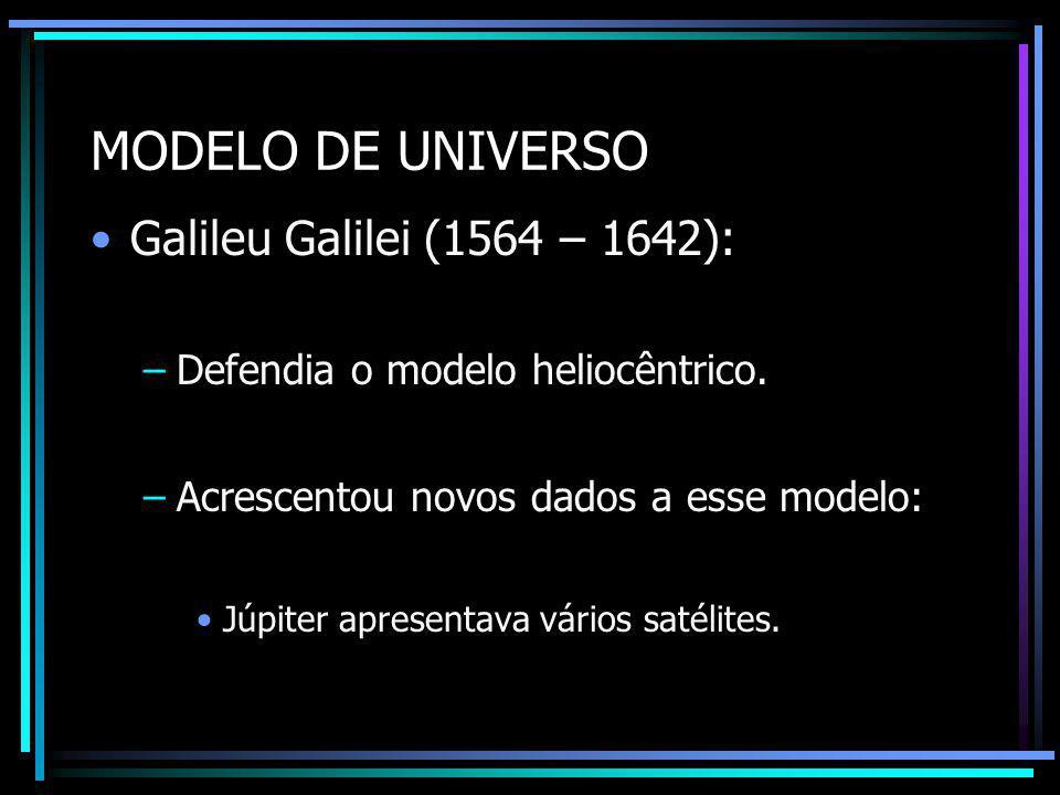 MODELO DE UNIVERSO Galileu Galilei (1564 – 1642):