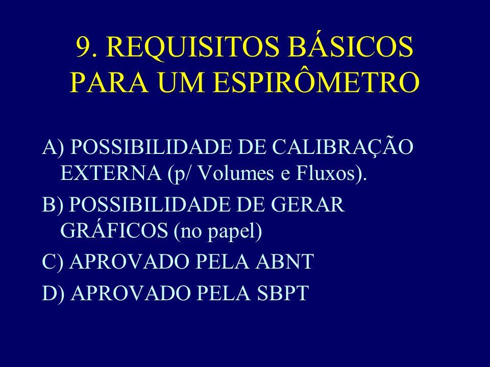 9. REQUISITOS BÁSICOS PARA UM ESPIRÔMETRO
