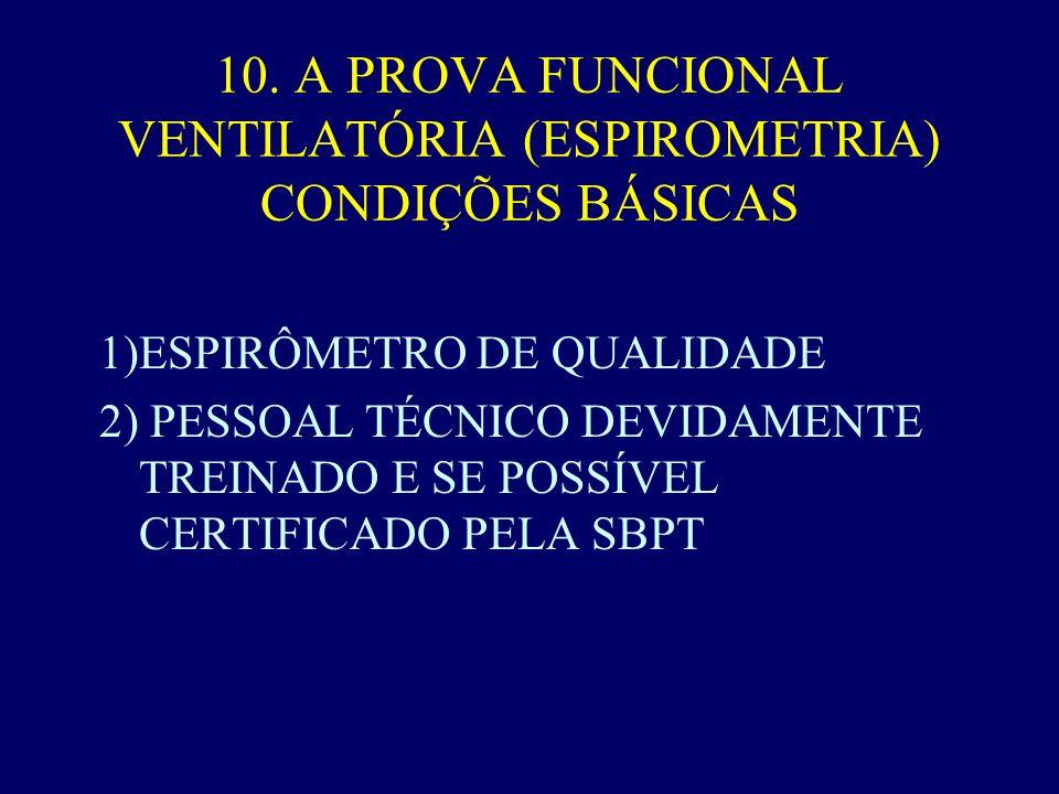 10. A PROVA FUNCIONAL VENTILATÓRIA (ESPIROMETRIA) CONDIÇÕES BÁSICAS