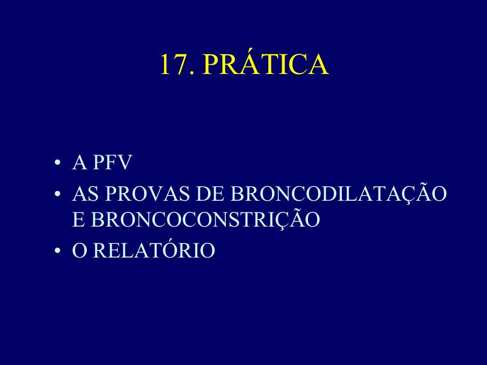 17. PRÁTICA A PFV AS PROVAS DE BRONCODILATAÇÃO E BRONCOCONSTRIÇÃO