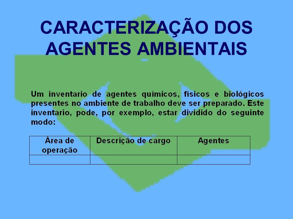 CARACTERIZAÇÃO DOS AGENTES AMBIENTAIS