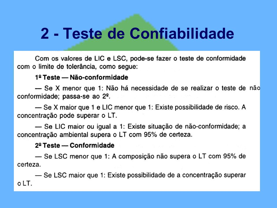 2 - Teste de Confiabilidade