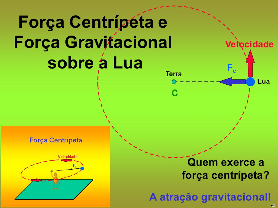 Força Centrípeta e Força Gravitacional sobre a Lua