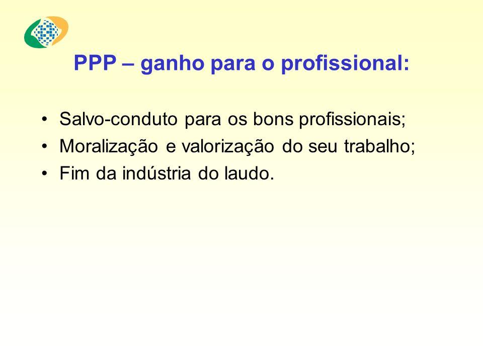 PPP – ganho para o profissional: