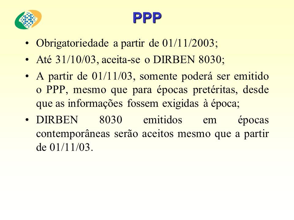 PPP Obrigatoriedade a partir de 01/11/2003;