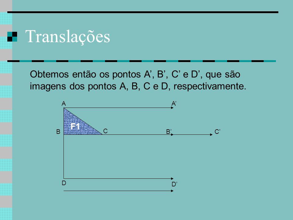 Translações Obtemos então os pontos A', B', C' e D', que são imagens dos pontos A, B, C e D, respectivamente.