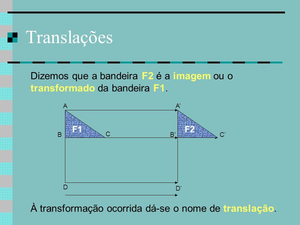 Translações Dizemos que a bandeira F2 é a imagem ou o transformado da bandeira F1. A. A' F1. F2.