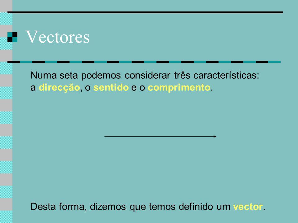 Vectores Numa seta podemos considerar três características: a direcção, o sentido e o comprimento.