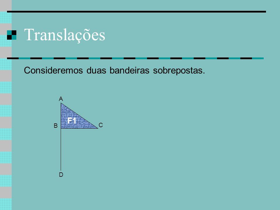 Translações Consideremos duas bandeiras sobrepostas. A F1 B C D