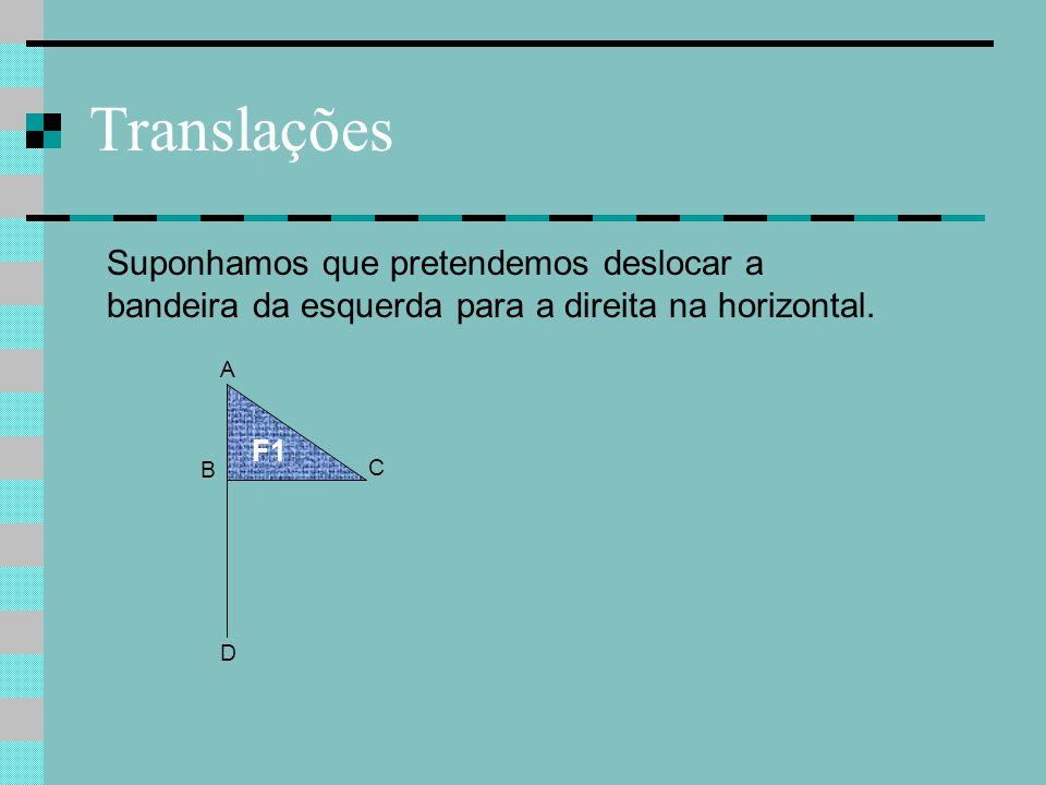 Translações Suponhamos que pretendemos deslocar a bandeira da esquerda para a direita na horizontal.