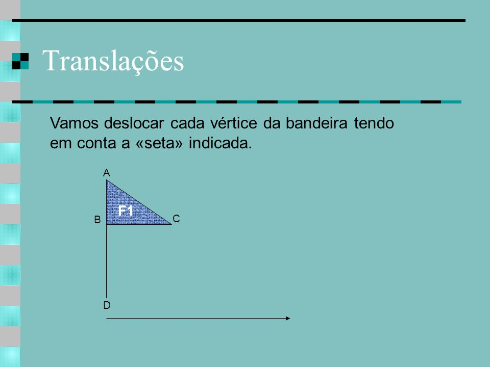Translações Vamos deslocar cada vértice da bandeira tendo em conta a «seta» indicada. A F1 B C D