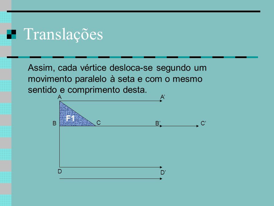 Translações Assim, cada vértice desloca-se segundo um movimento paralelo à seta e com o mesmo sentido e comprimento desta.