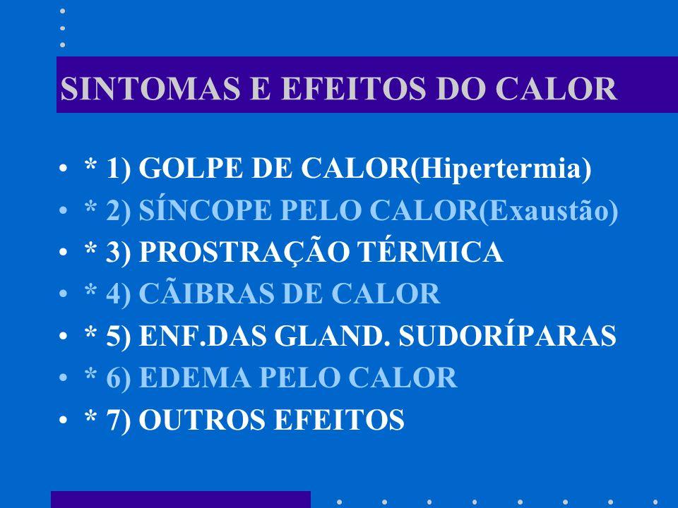 SINTOMAS E EFEITOS DO CALOR