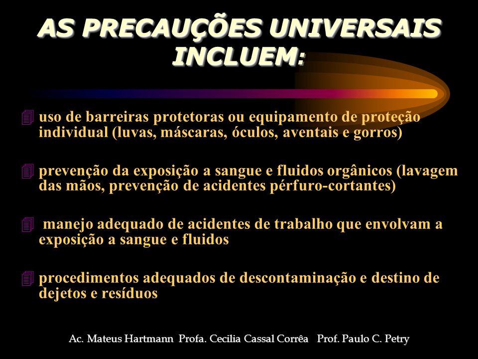 AS PRECAUÇÕES UNIVERSAIS INCLUEM: