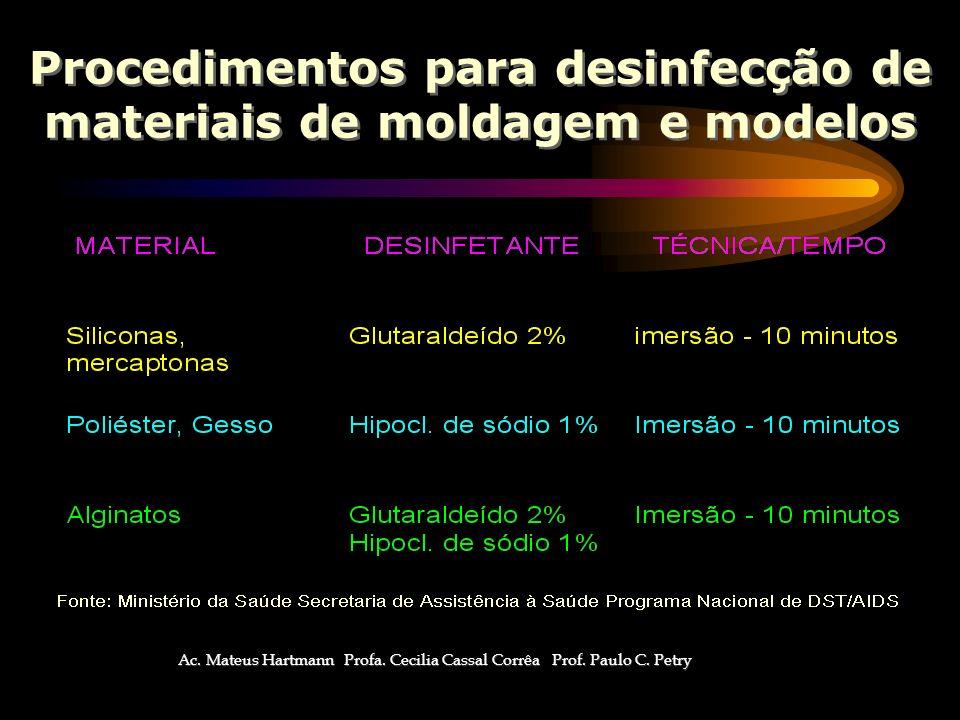 Procedimentos para desinfecção de materiais de moldagem e modelos