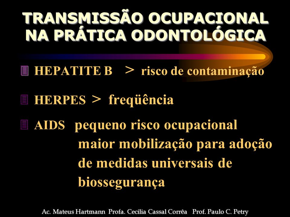 TRANSMISSÃO OCUPACIONAL NA PRÁTICA ODONTOLÓGICA
