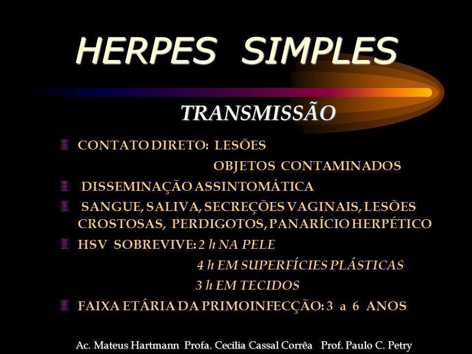 HERPES SIMPLES TRANSMISSÃO CONTATO DIRETO: LESÕES OBJETOS CONTAMINADOS