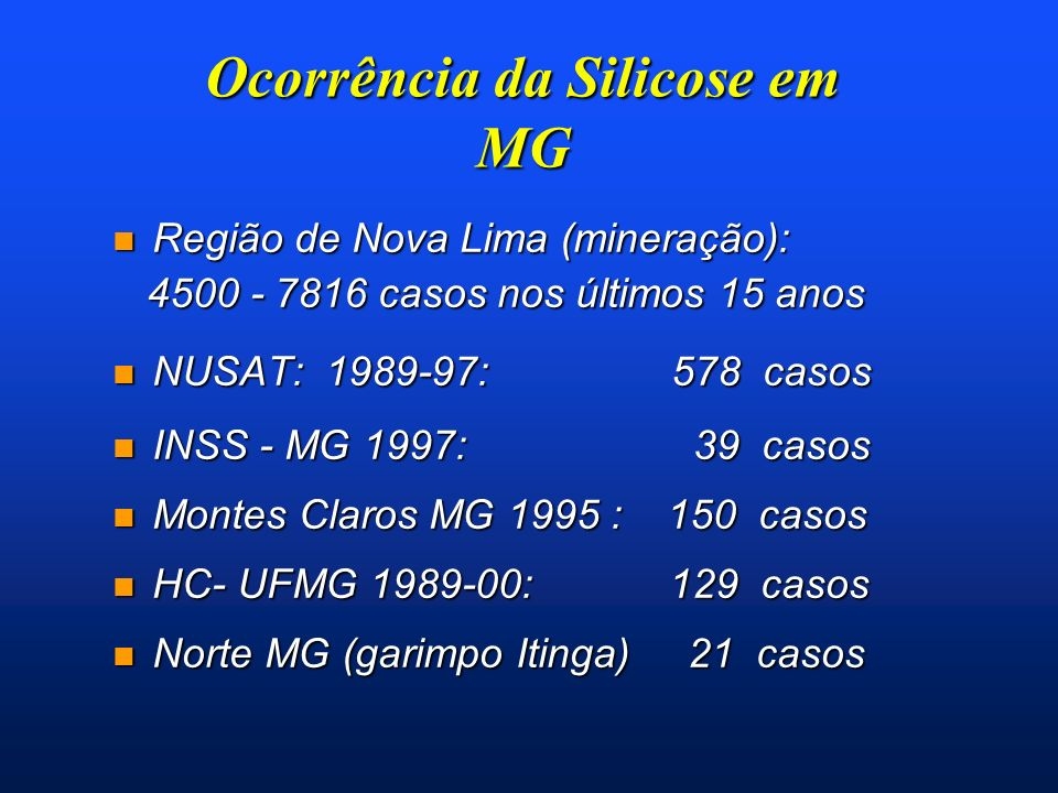 Ocorrência da Silicose em MG