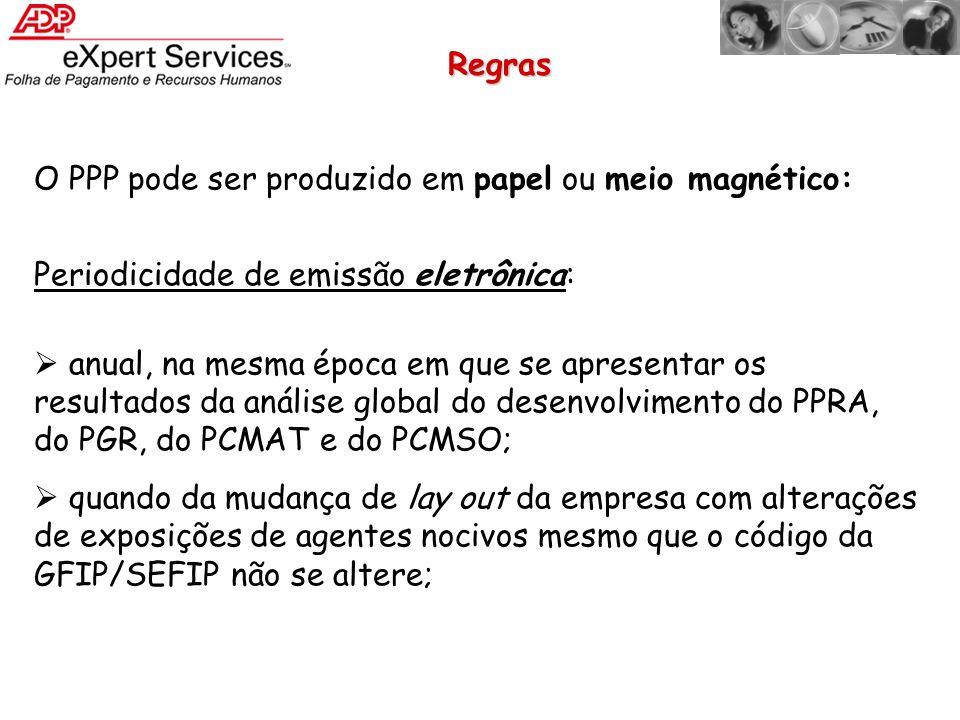 Regras O PPP pode ser produzido em papel ou meio magnético: Periodicidade de emissão eletrônica: