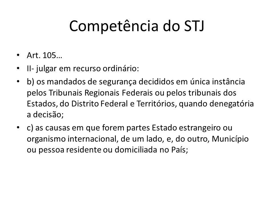 Competência do STJ Art. 105… II- julgar em recurso ordinário:
