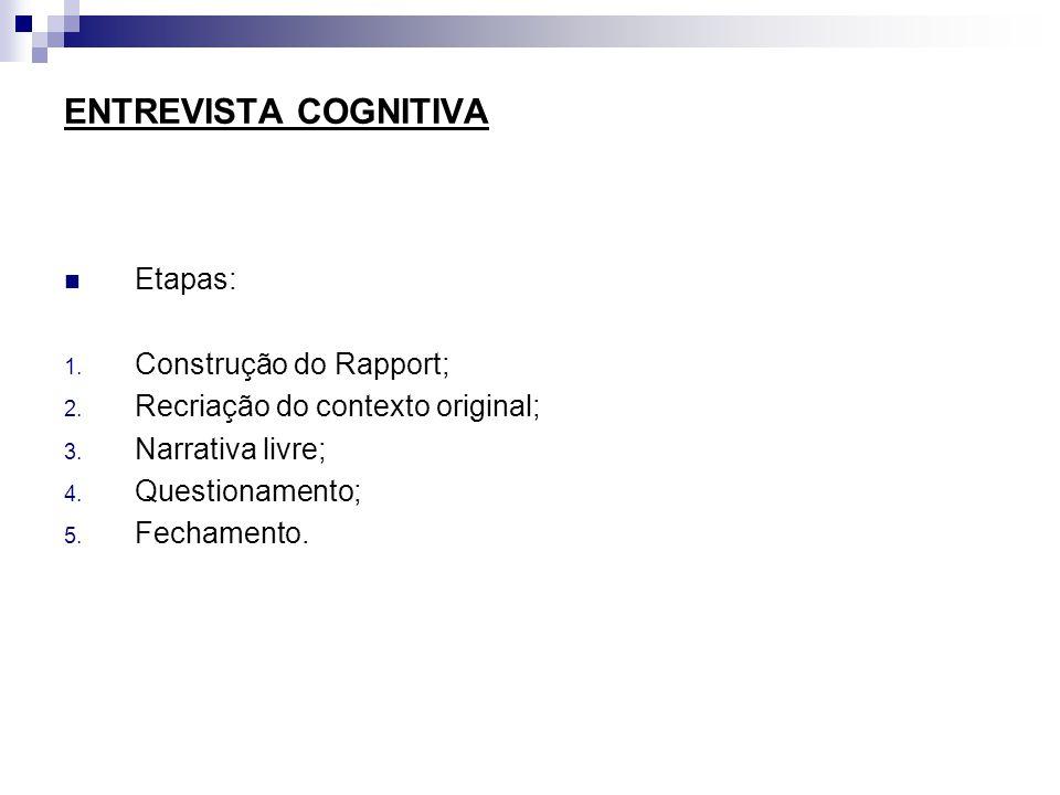 ENTREVISTA COGNITIVA Etapas: Construção do Rapport;