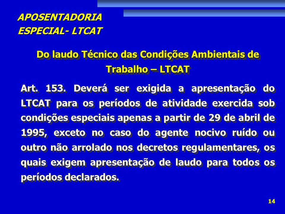 Do laudo Técnico das Condições Ambientais de Trabalho – LTCAT
