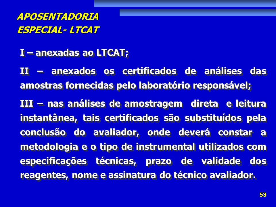 I – anexadas ao LTCAT;II – anexados os certificados de análises das amostras fornecidas pelo laboratório responsável;