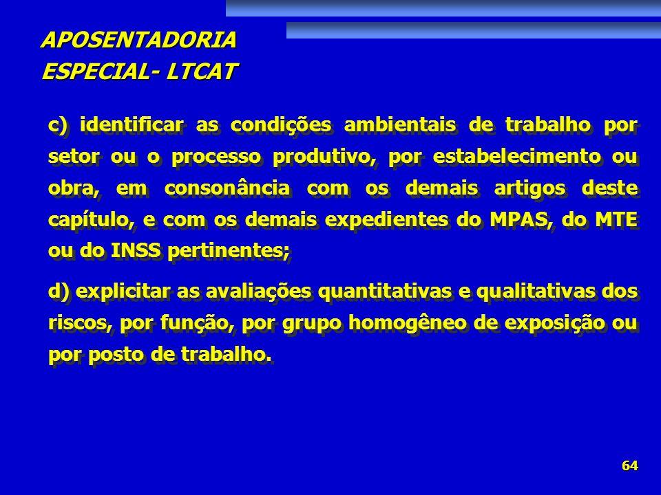 c) identificar as condições ambientais de trabalho por setor ou o processo produtivo, por estabelecimento ou obra, em consonância com os demais artigos deste capítulo, e com os demais expedientes do MPAS, do MTE ou do INSS pertinentes;