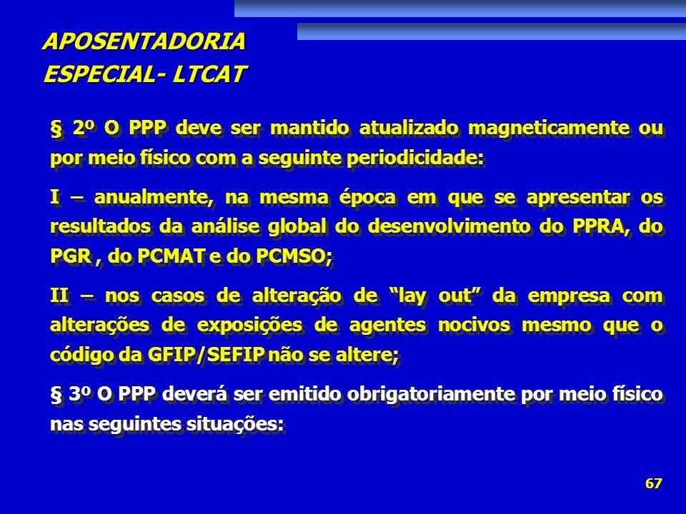 § 2º O PPP deve ser mantido atualizado magneticamente ou por meio físico com a seguinte periodicidade: