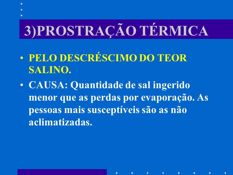 3)PROSTRAÇÃO TÉRMICA PELO DESCRÉSCIMO DO TEOR SALINO.