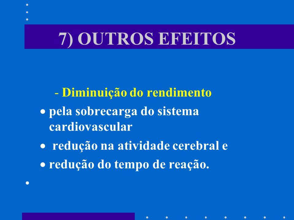 7) OUTROS EFEITOS Diminuição do rendimento